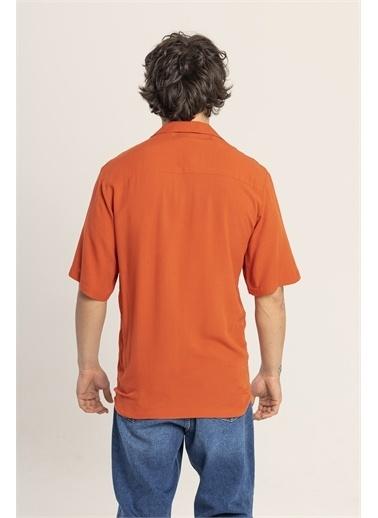 XHAN Kahverengi Desenli Oversize Gömlek 1Kxe2-44813-18 Oranj
